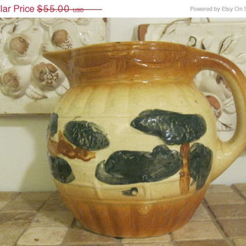 ON SALE Antique Early Roseville Pottery Embossed Landscape Utilitarian Pitcher