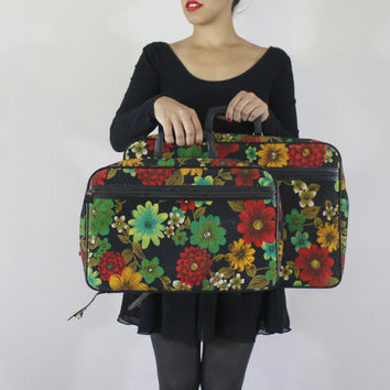 Vintage Floral Large Suitcase Overnight Bag - Retro Mod 1960s Carry On Tote / Retro Travel Luggage
