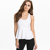 Sleeveless Cross Out Back Strap Peplum Top