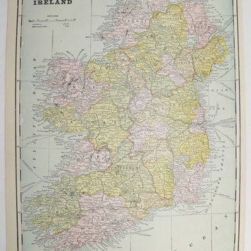 Vintage Ireland Map Scotland 1894 Antique Map, Irish Gift Idea for the Home, Scottish Wall Art Map, Wedding Decor Prop, Genealogy Research