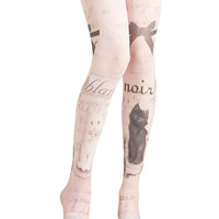 French Opposites Cat-tract Tights by ModCloth