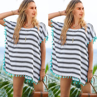 Chiffon Beach Cover Up Stripe Printed Beach Swim Suit Cover Ups
