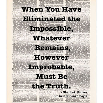 Sherlock Holmes Quote - Eliminated the Impossible - Dictionary Page