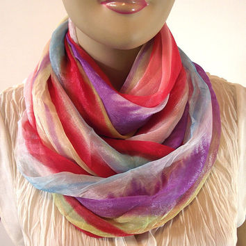 Infinity Scarf Watercolor Ombre Pastel Summer Circle Scarf Chunky Wide Scarf White Lilac Coral Light Blue Soft Yellow Women Fashion Scarves
