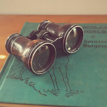 Antique Late 19th Century French Lemaire FI Leather Clad Binoculars sold by silversmiths James Armiger Co of Baltimore, Md