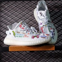 Best Online Sale Kanye West x Adidas Yeezy 350 V2 Boost Customise Graffiti Multicolor Cartoon Sport Shoes  Running Shoes