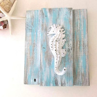 Seahorse Wall Hook reclaimed wood Beach Coastal Decor Distressed blue & white towel jewelry bathroom kitchen key hook wall hanging Rustic