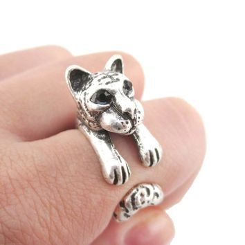 3D Tiger Wrapped Around Your Finger Shaped Ring in Silver