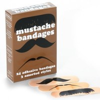 Novelty assorted moustache style Mustache Bandages Gag Band Aids Box of 24