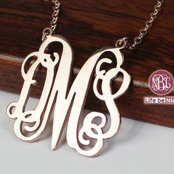 Popular initial monogram necklace --1.5  inch plated in gold monogram necklace jewelry