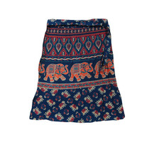 Mogulinterior Mini Short Skirts Cobalt Blue Elephant Floral Print Cotton Wrap Skirt