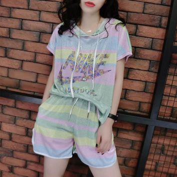"""Nike"" Women Casual Fashion Multicolor Rainbow Letter Hooded Short Sleeve Shorts Set Two-Piece Sportswear"