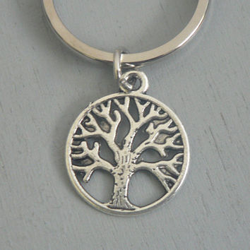 Tree Of Life Key Chain Silver Keychain Gift for Nature Lover Family Him or Her