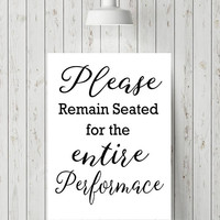 Funny bathroom art print - Please remain seated print - Funny bathroom sign - Funny bathroom wall art - Funny bathroom art sign