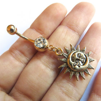Celestial Golden Moon And Sun Belly Button Ring Jewelry Gold Charm Dangle Navel Piercing Bar Barbell