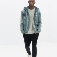 COMBINED DENIM VELOUR JACKET WITH POUCH POCKET