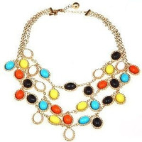 Shorouk Style Chunky Roped Triple Strand Necklace