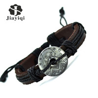 Jiayiqi New Arrival Snow Flower Bracelet Style Cuff Charm Genuine Leather Bracelets Vintage Bracelet For Women Men Jewelry