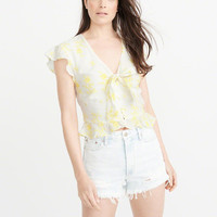 Womens Tie-Front Blouse | Womens New Arrivals | Abercrombie.com