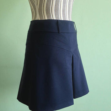 Knee Length Skirt, Navy Blue Skirt, Vintage 80s 1980s Skirt, Simple Pleated Skirt, Modest Split Skirt, Minimalist Skirt, A Line Skirt, S