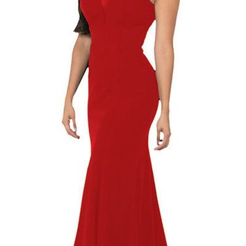 V-Neck and Back Red Evening Gown Sleeveless