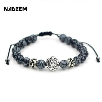 Men's Weave Kintted Design Bead Bracelet Silver Color Lion Head Charm Snowflake Stone Bead Adjustable Macrame Braiede Bracelet