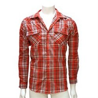 Red & Blue Plaid Men's Long Sleeve Button Down Shirt (CL02015)