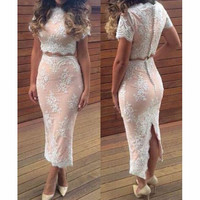 GAUZE EMBROIDERY STITCHING DRESSES