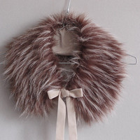 Smoky brown collar from soft faux fur