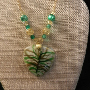CIJ SALE Murano Style Heart Shaped Glass Green and Gold Pendant V4475