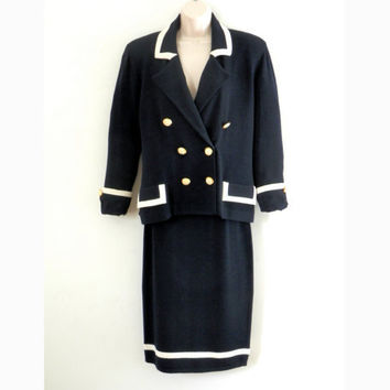 Vintage 80's St John Navy and White Knit Jacket and Skirt Suit by Marie Gray