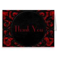 Gothic Red Roses Victorian Wedding Thank You Card