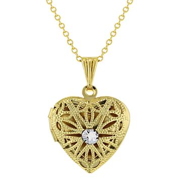 Heart Shaped April Clear Crystal Filigree Locket Photo Pendant Necklace 19""