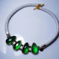 Emerald Silver and Gold Rope Bib Necklace