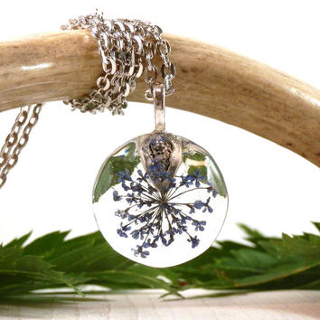 Blue queen anne's lace resin pendant - blue real flower necklace - real plant jewelry - woodland pendant - forest inspired jewelry - blue