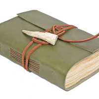 Olive Green Leather Journal  - Tea Stained Paper - Antler Closure - Travel Journal - Rustic Journal - Hand Bound - Ready To Ship  -