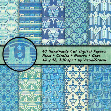 Cat Patterns Digital Papers Kitty Cat Backgrounds Green Blue Cat Memorial Scrapbooking Paper Hearts Paw Prints Printable Cat Lovers Papers