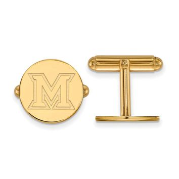 NCAA 14k Gold Plated Silver Miami University Cuff Links