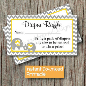 Yellow Grey Baby Shower Diaper Raffle Tickets Elephant Chevron Diaper Raffle Tickets INSTANT DOWNLOAD pdf Printable Party DIY Boy Girl 010