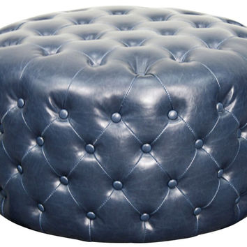 Santee Bonded Leather Round Tufted Ottoman NAVY