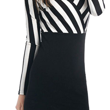 Cupshe At Ease Plunging Stripe Dress