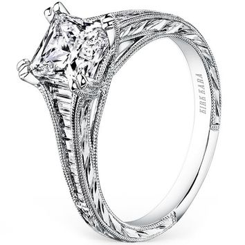 "Kirk Kara ""Stella"" Tapered Channel Set Diamond Engagement Ring"