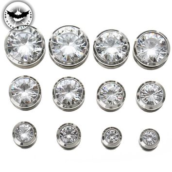 1Pair  Cubic Zirconia  Ear Tunnel Stainless Steel Plugs Gem Gauges Body Piercing Shinning Ear Reamer Expander Size3mm-18mm