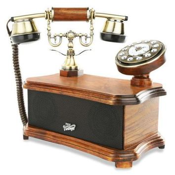 2-in-1 Retro Vintage Style Home Landline Telephone & Bluetooth Stereo Speaker System