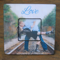 """Personalized Engagement Gift, Unique Custom Wedding Picture Frame,  8"""" x 8"""", Unique Christmas Gift"""