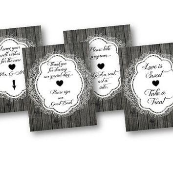 Wood and Lace Wedding Signs 8x10 Printable Set of 4 Love is Sweet - Leave your well wishes - pick a seat not a side - guestbook - program