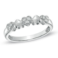 1/10 CT. T.W. Diamond Five Heart Promise Ring in Sterling Silver