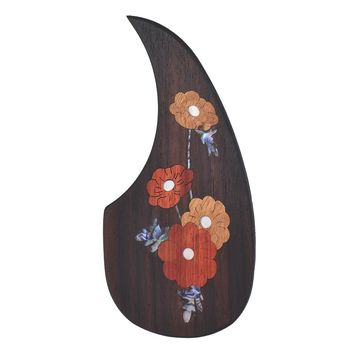 """Wooden Guitar Pickguard Pick Guard for 40"""" 41"""" Acoustic Guitars Ebony Wood with Decorative Flower Pattern inlaid shells"""