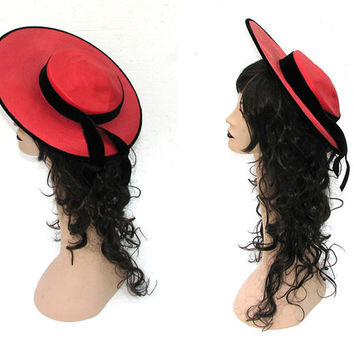 50s Wide Brim Hat / 1950s Hat / Vintage 50s Hat / Hat by Yvonne Originals / Red Hat / Sun Hat / Audrey Hepburn / Racetrack / Garden Party