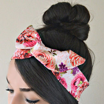 Floral vintage head bands, dolly bow headband , Chic Head wrap